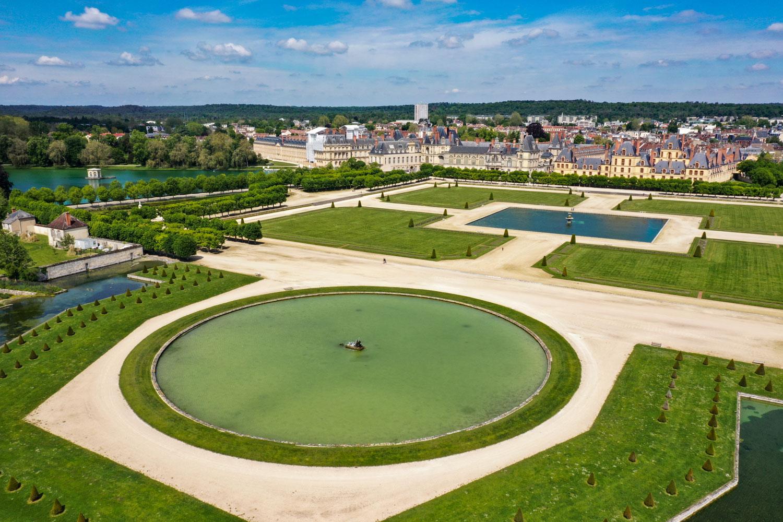 Chateau Fontainbleau ariel view of gardens