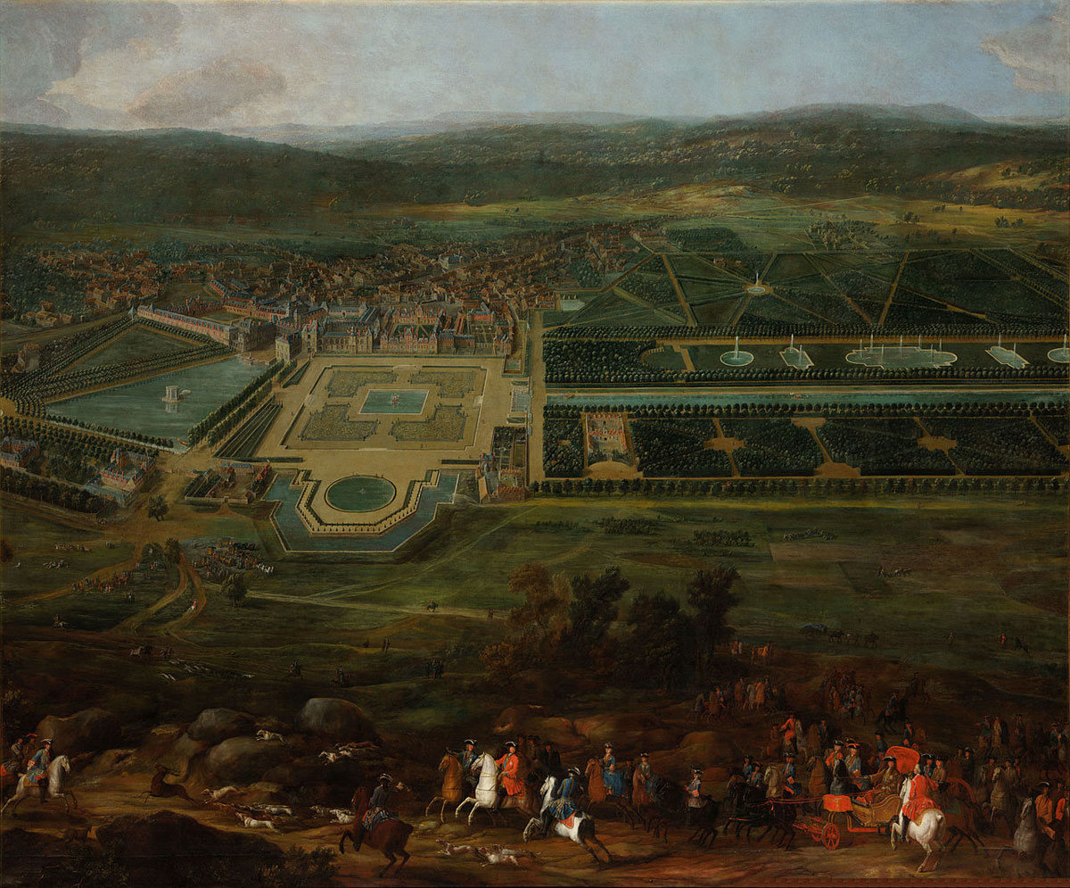 Louis XIV hunting near the Palace of Fontainebleau. Painting by Pierre-Denis Martin